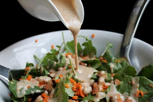 Vegan White Bean Kale Salad with Almond Butter Dressing