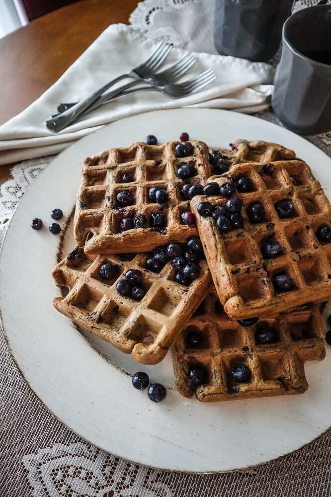Vegan Blueberry Vanilla Waffles