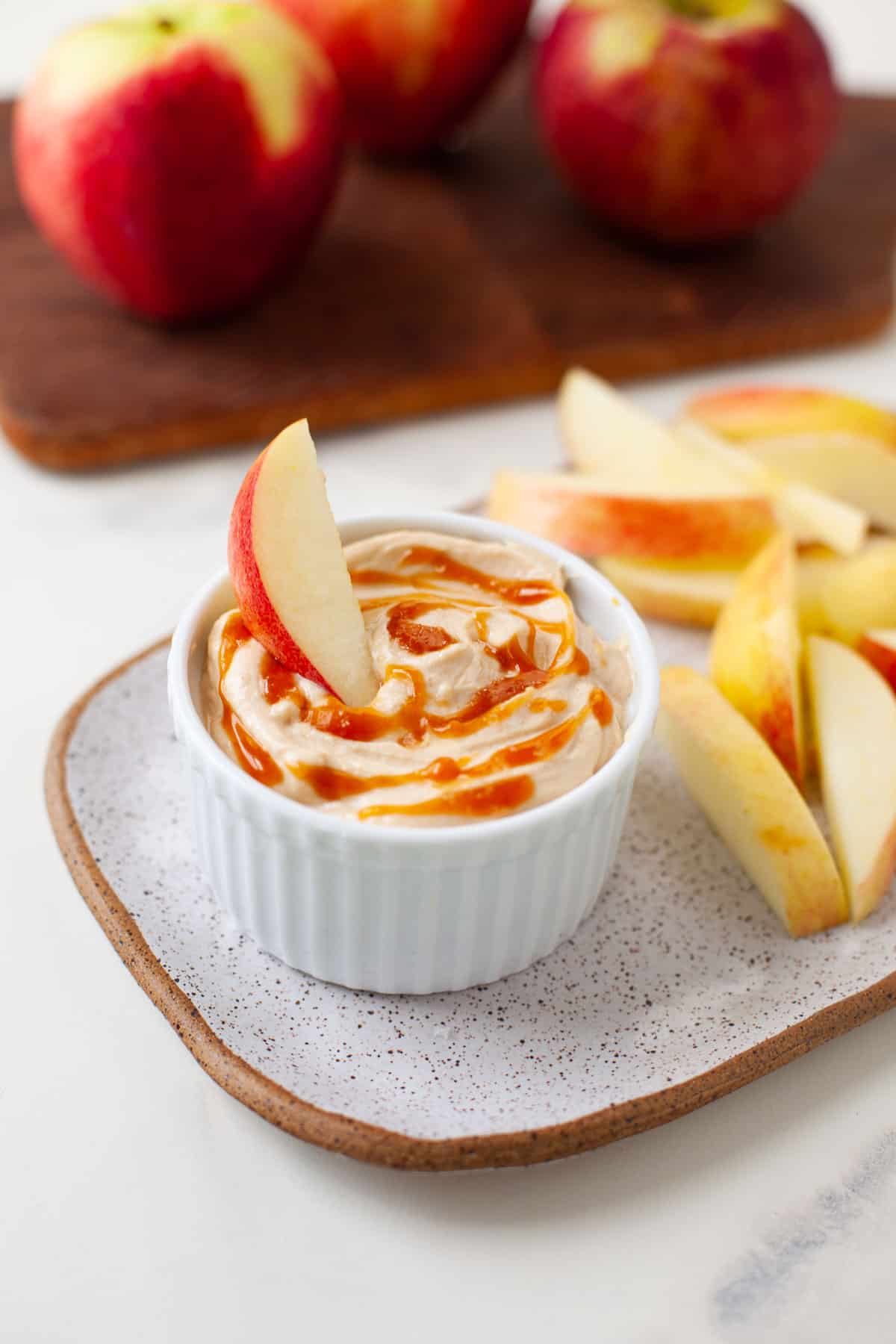 Salted Caramel Peanut Butter Apple Dip | The Foodie Dietitian