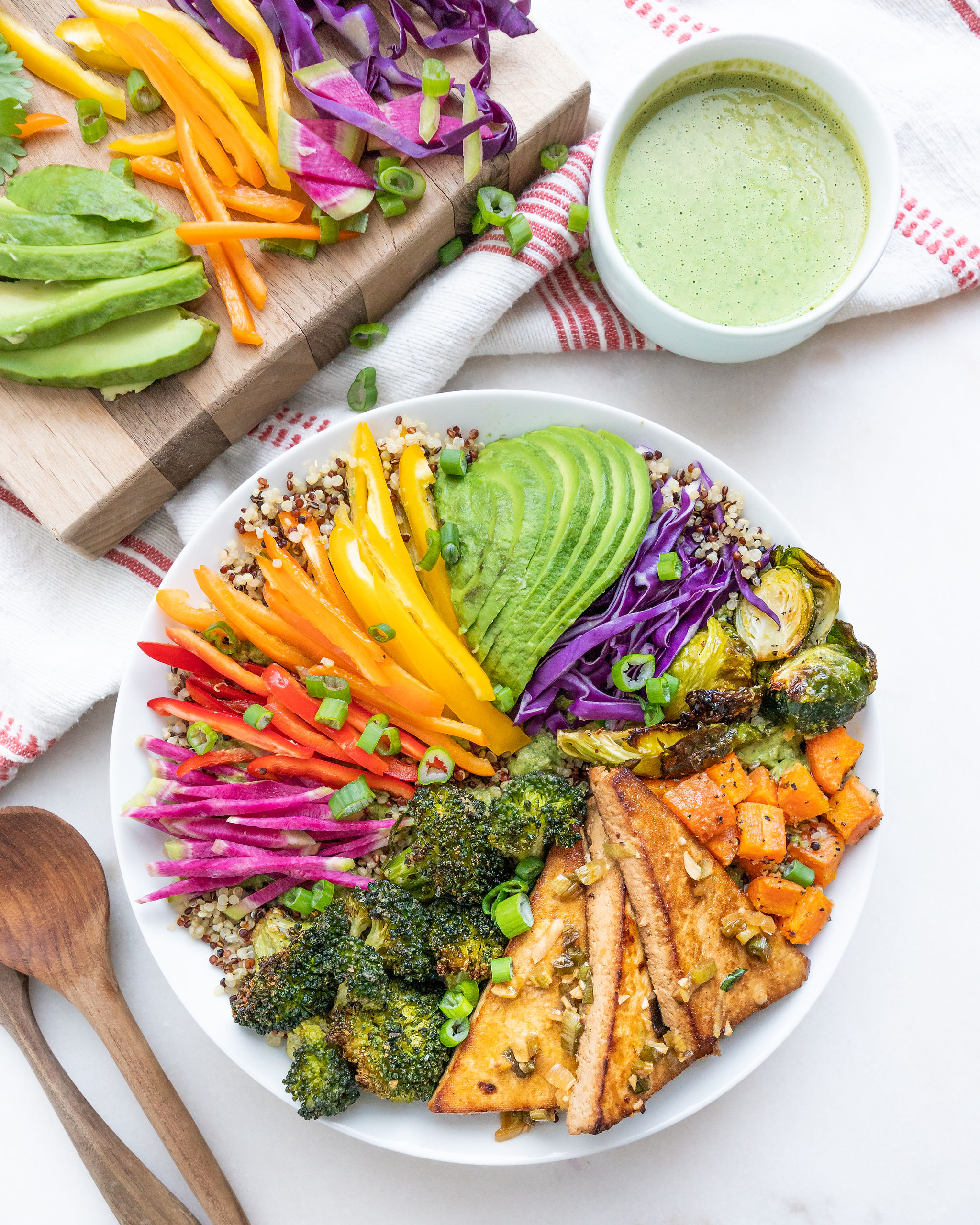Rainbow Veggie Bowl with Cilantro Tahini Dressing