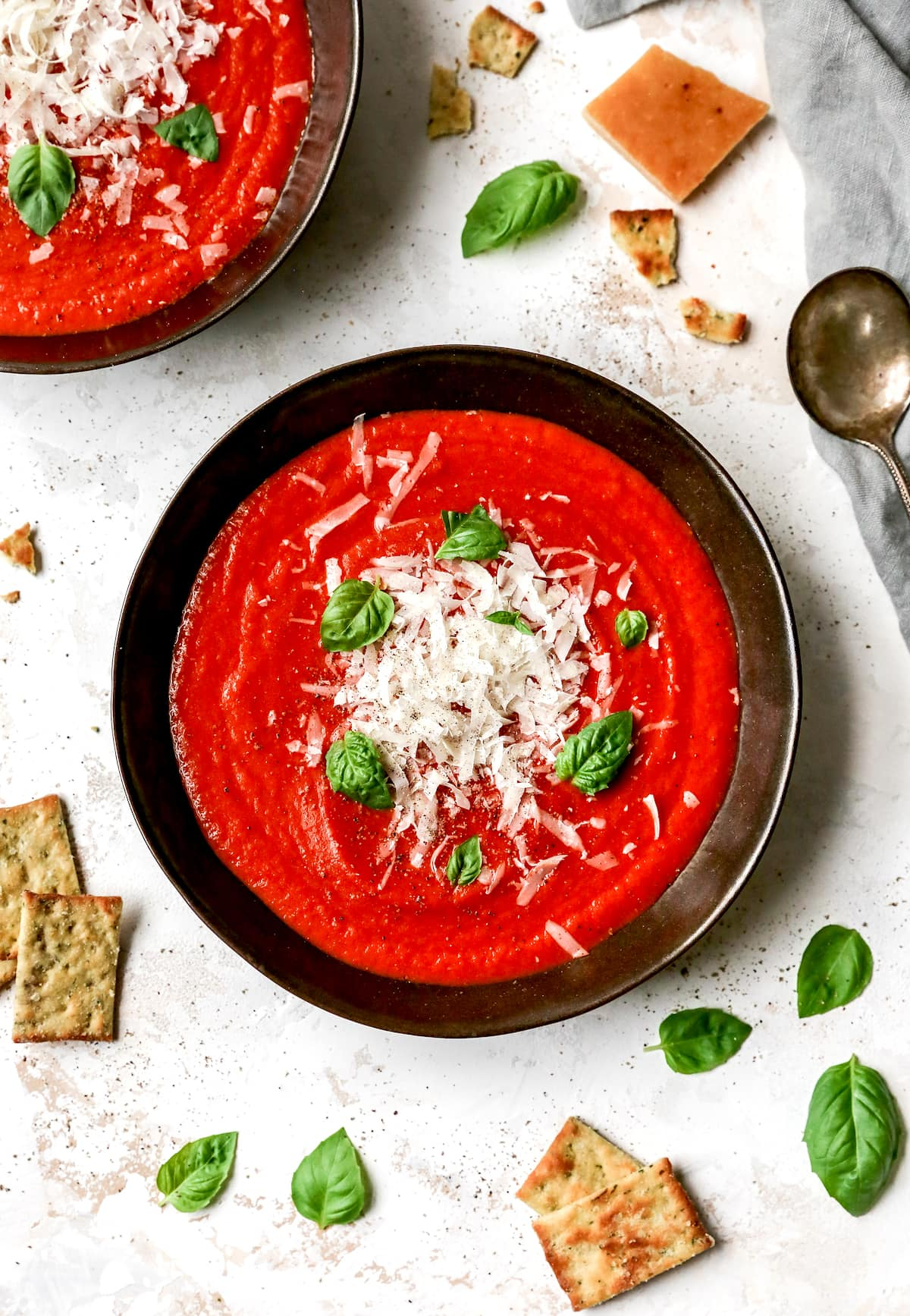Roasted Tomato Basil Soup {Fresh Tomatoes} - Two Peas & Their Pod