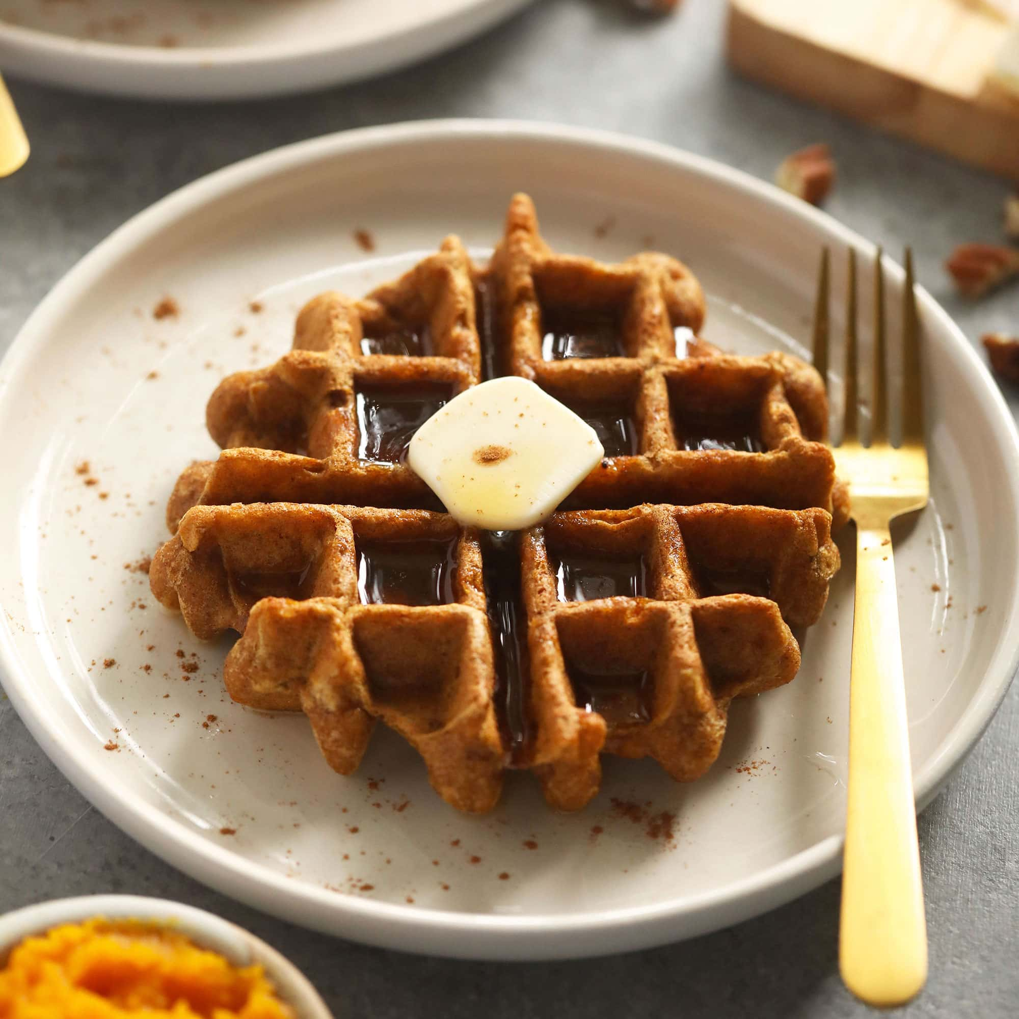 Best Ever Gluten Free Pumpkin Waffles - Fit Foodie Finds