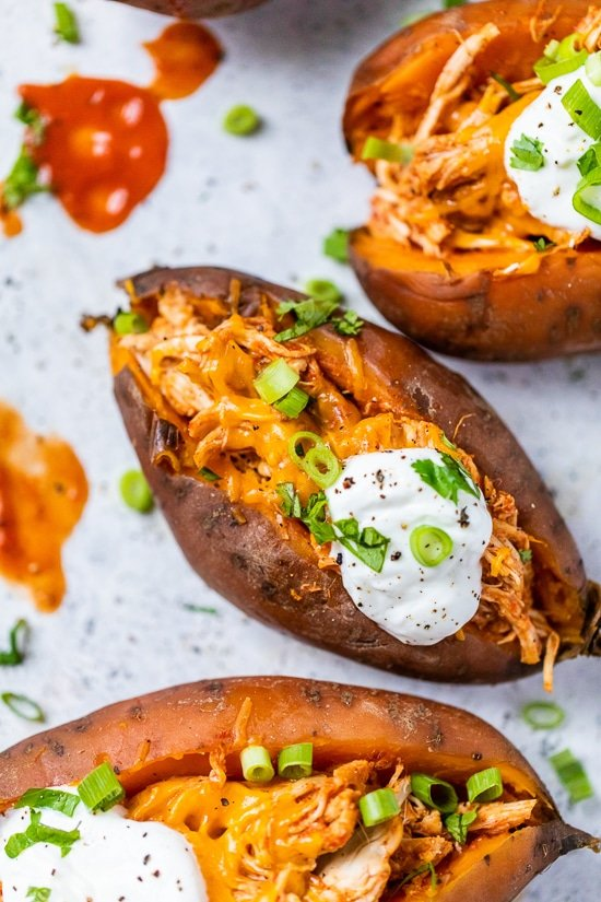 Slow Cooker Chicken Enchilada Stuffed Sweet Potatoes
