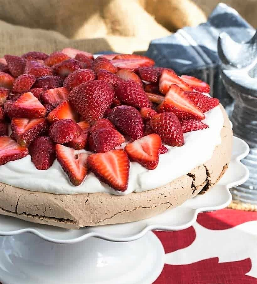Strawberry Topped Chocolate Pavlova - That Skinny Chick Can Bake