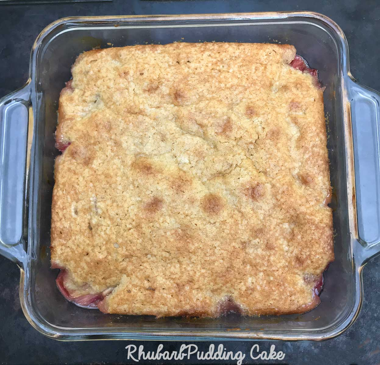 Rhubarb Pudding Cake in a Square Pan - Cookie Madness