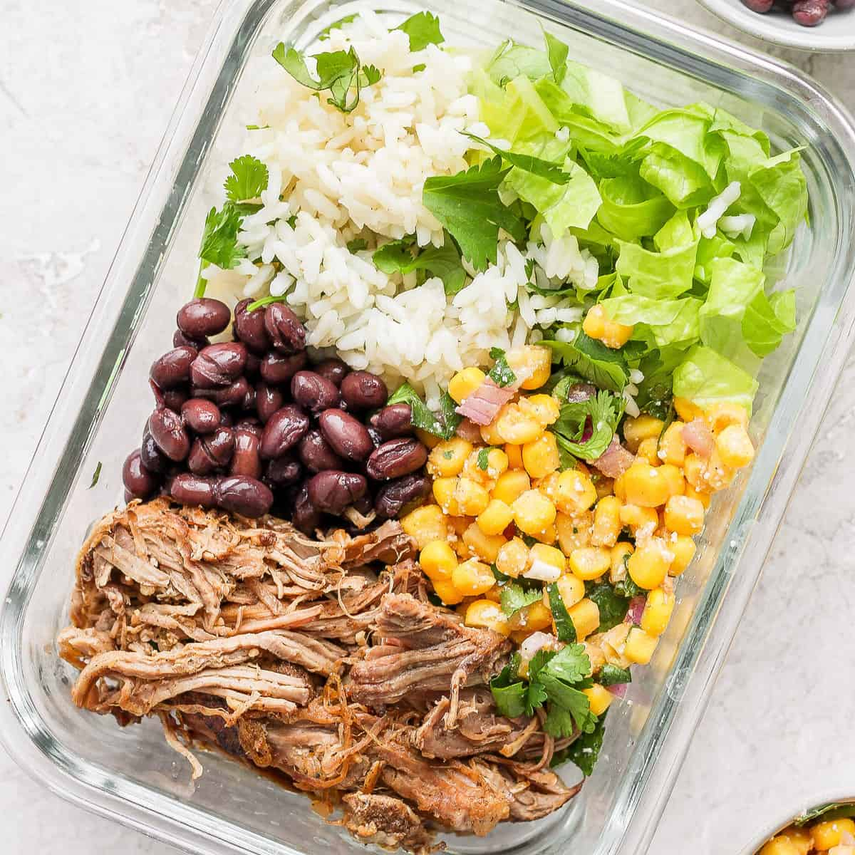 Slow Cooker Carnitas Burrito Bowls - Fit Foodie Finds