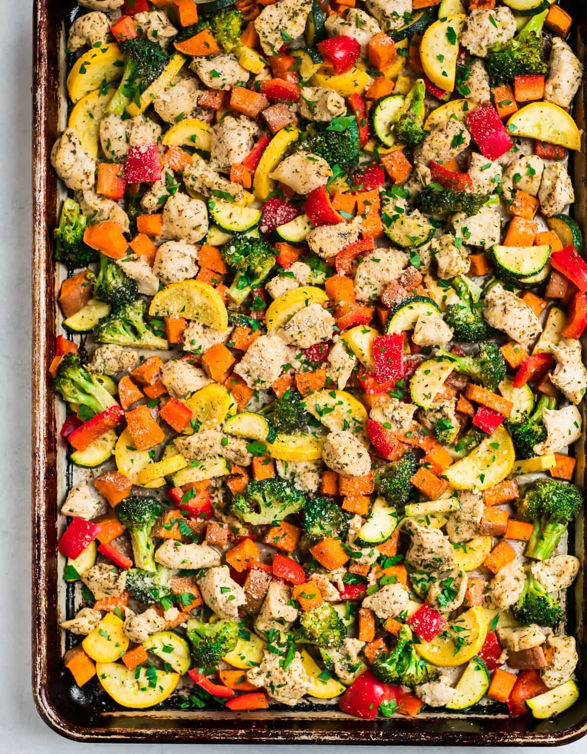 Sheet Pan Chicken with Rainbow Vegetables, Lemon and Parmesan