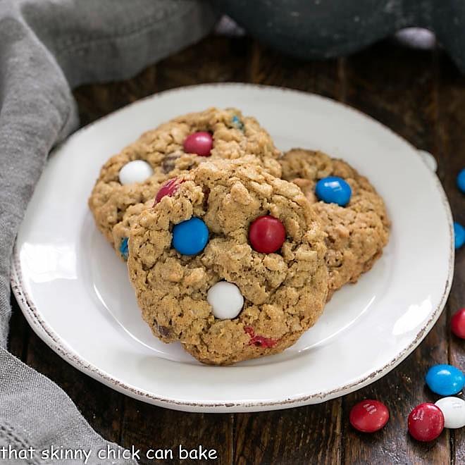 Patriotic Monster Cookies - That Skinny Chick Can Bake