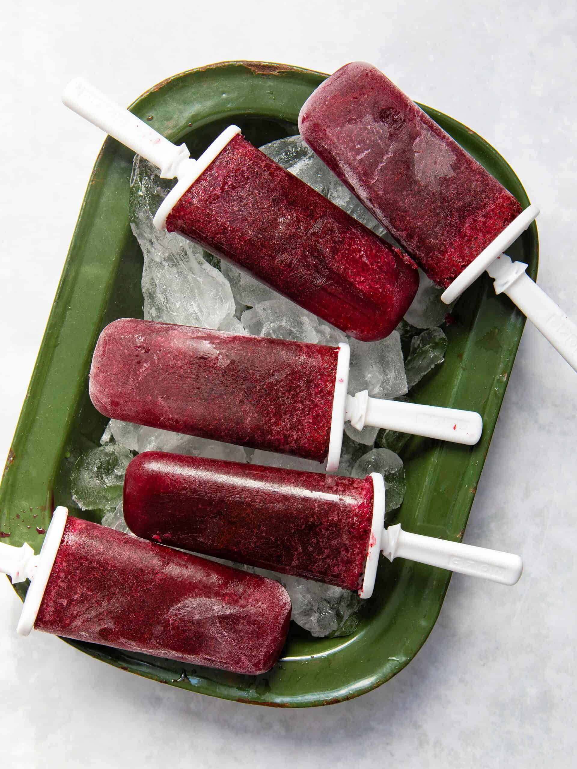 Blueberry Ice Lollies - 3 ingredients, 5 mins prep both gluten-free & vegan!