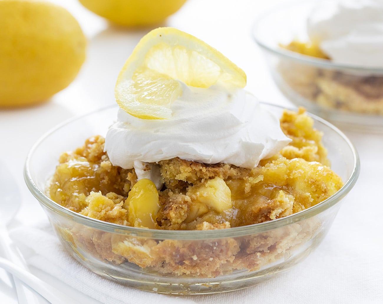 Lemon Cream Cheese Dump Cake | i am baker