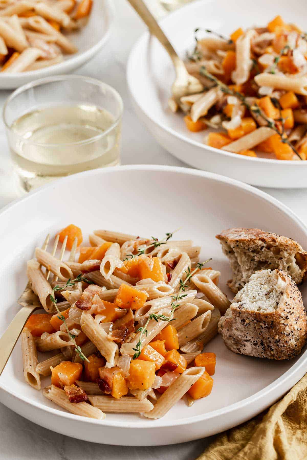 Bacon Butternut Squash Pasta with Thyme - Dinners for Two