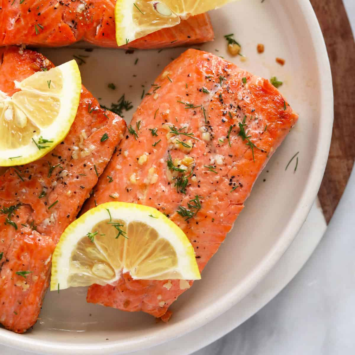 Perfect Pan Seared Salmon (with butter & lemon!) - Fit Foodie Finds